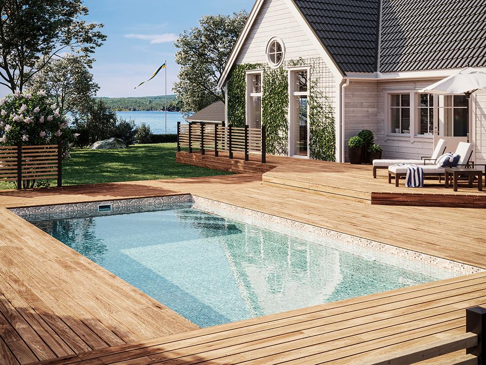 Miami Pool Miljöpool, 4x8 meter med hörntrappa och sandfärgad mosaik liner